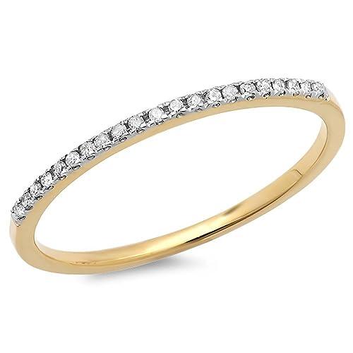 10k Gold Round White Diamond Ladies Dainty Anniversary Wedding Band Stackable Ring Dazzlingrock K1986-P ctw 0.08 Carat