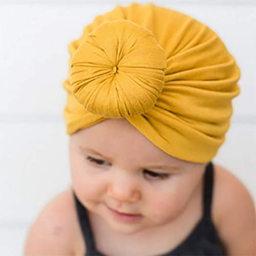 Fliyeong Cute Solid Color Newborn Infant Knot Hat Cap Baby Cotton Toddler Soft Beanie Practical and Popular