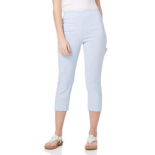 Roman Originals Women Cropped Stretch Bengaline Trousers Ladies Work Office Crop Capri Pants Formal 3//4 Length Elasticated Leggings Pull On Casual Tailored Shorts Treggings