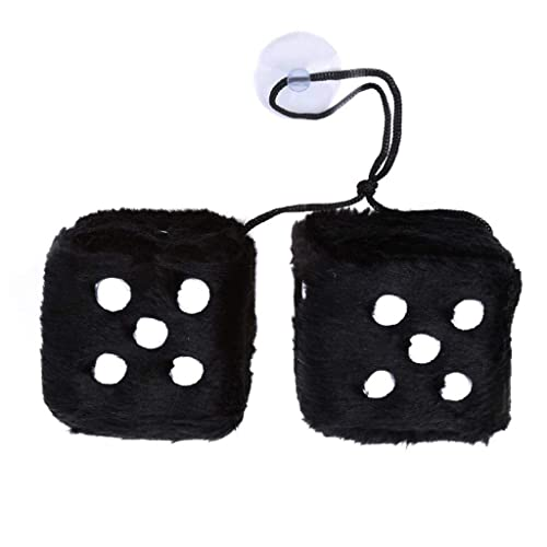 Fliyeong Premium Fluffy Dice Hanging Plush Dice Cube with Suctions For Car Interior Ornament Decoration black