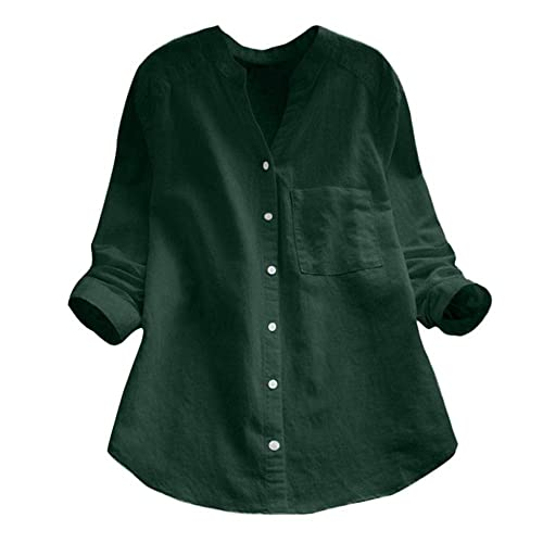 Womens Cotton Linen V Neck Long Sleeve Shirts Solid Button Down Pockets Tunic Tops Regular Fit Popover Shirt Ladies Spring Fall Casual Work Office Blouse