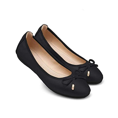 Fnnetiana Womens Foldable Ballet Flat Shoes Comfortable Slip On Bowknot Round Toe Dress Shoes