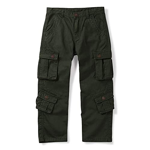 Phorecys Boys Cargo Pant Cotton Boy Combat Trousers Zipper Button with 8 Pocket