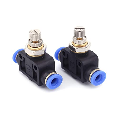 SNS JSC3//8-N02 3//8Tube OD x 1//4 NPT 90 Degree Elbow Air Flow Control Valve Push to Connect Fitting Speed Control Valve 10 PCS