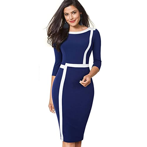ZIGJOY Round Neck 3//4 Sleeve Womens Vintage Pencil Bodycon Business Casual Party Dress