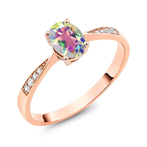 Gem Stone King 0.80 Ct Mercury Mist Mystic Topaz 18K Rose Gold Plated Silver Pendant With Chain