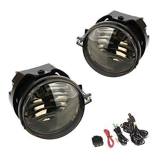 Driving Fog Lights Lamps Replacement for Dodge Caravan Charger Challenger Caliber Chrysler Pacifica Sebring Jeep Patriot Compass with H8 12V 35W Halogen Bulbs Switch Wiring Kit Clear Lens