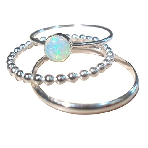 Aunimeifly Womens Simple Jewelry Filled Wedding Engagement Six-Claw Inlay Opal Ring