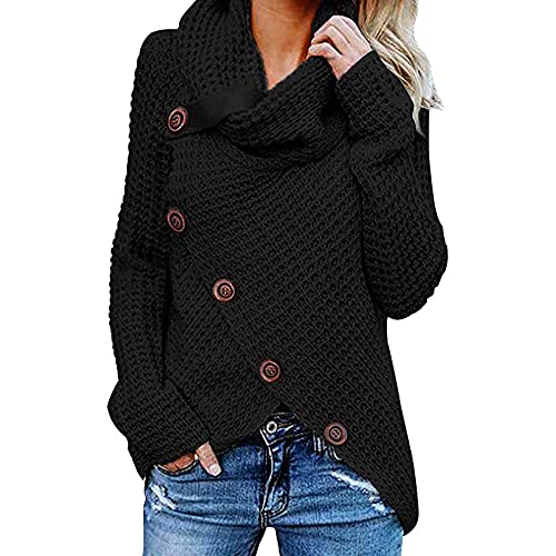 SANFASHION Ladies Sweater Knitted Chunky Womens Button Asymmetric Turtleneck Elegant Long Sleeve Plus Size Pullover Tops