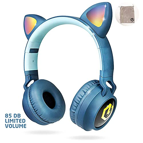 Powerlocus Wireless Bluetooth Headphones For Kids Kid Headphone Over Ear With Led Lights Foldable Headphones With Microphone Volume Limited Wireless And Wired Headphone For Phones Tablets Pc Laptops Buy Products Online With Ubuy Kuwait In