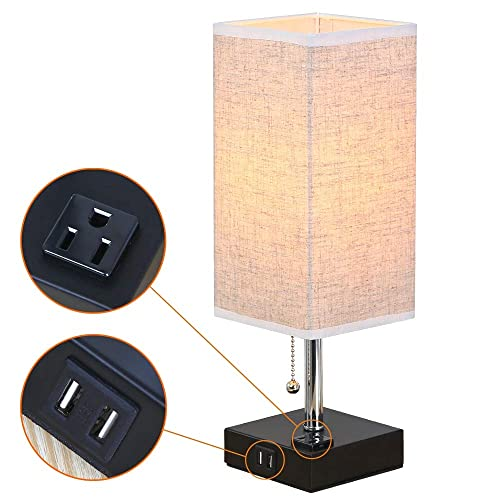 Zeefo Dual 2 1a Usb Charging Port Table Lamps With Outlet Simple Design Bedside Table Lamp Black Base And Fabric Shade Nightstand Desk Lamp Is Great