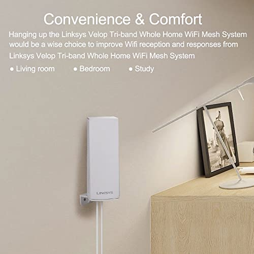 HOLACA Wall Mount Holder For Linksys Velop Dual-Band Whole Home WIFI Mesh System Wall Mount Protective Holder Stand Router,White 1 PACK