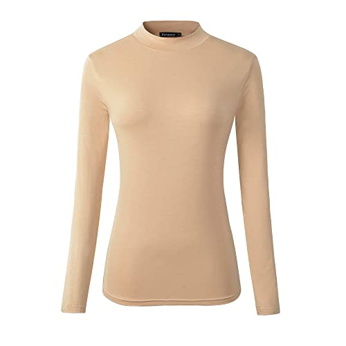 ToBeInStyle Women/'s Relaxed fit Long Sleeve Soft and Stretchy Turtleneck Shirt