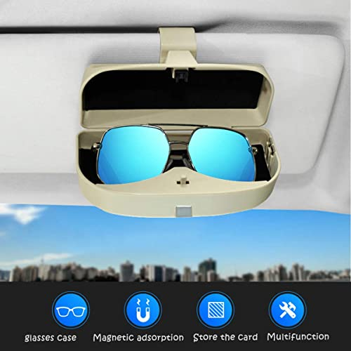 MOSISO Car Visor Sunglasses Case Piano Black Universal Automotive ABS Eyeglasses Holder Protective Box Clip Eyewear Hard Shell Storage Organizer with Magnetic Closure and Double Card Clamp