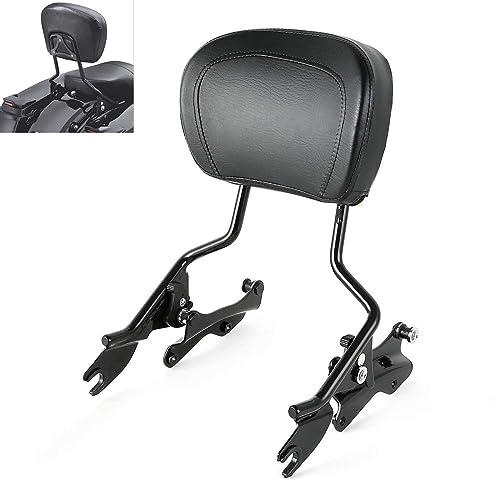 XFMT Black 4 Point Docking Kit Backrest Sissybar Bar w//Pad Compatible with Harley Touring 09-13