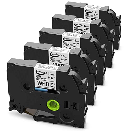 5-Pack Replace Brother TZe Tape 12mm TZe-231 Black on White Laminated Label Tape