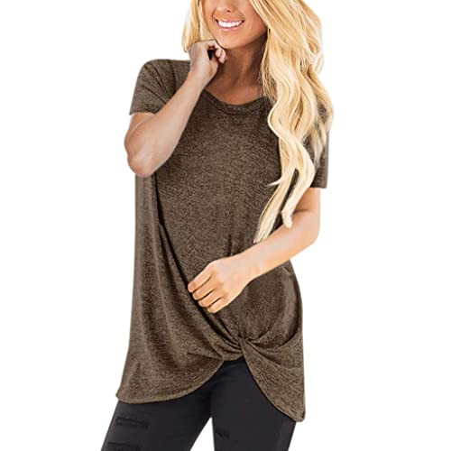 Women Tunic Top,Ladies Causal V-Neck Long Sleeve Side Twist Knotte Blouses S, Beige