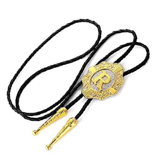 Bolo Tie for Men Golden Initial Letter A to Z in Flower Nursery Western Cowboy Retro Necktie with Cowhide Rope