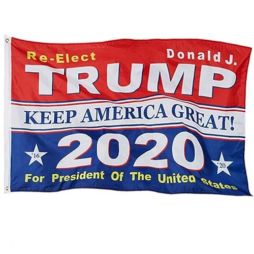 Donald Trump 2020 3x5 Foot Cotton Flag-Vivid Deep Blue Color for Re-Election DP