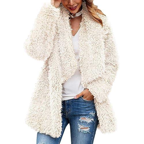 Womens Fuzzy Fleece Coats Winter Long Sleeve Lapel Open Front Faux Fur Cardigan Jackets Outwear with Pockets