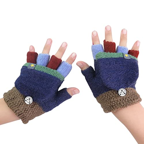 Zerototens Kids Gloves,0-7 Years Old Unisex Boys Girls Flip Top Gloves Cute Cartoon Animal Autumn Winter Warm Candy Color Half Finger Stretchy Knit Gloves Baby Knitted Mittens
