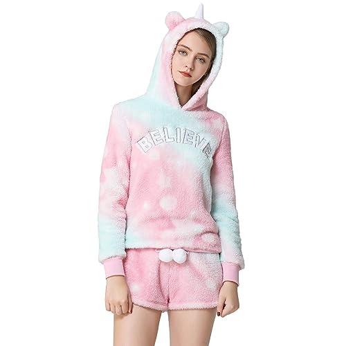 Womens Cartoon Bear Onesise Sleepwear Cute Fuzzy Warm Sherpa Fleece Hooded Romper Short Jumpsuit Playsuit