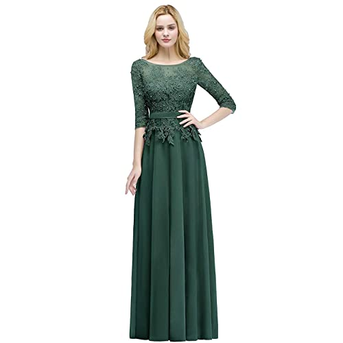 454ee64b0d Buy MisShow Applique 3/4 Sleeves Prom Evening Dresses Formal 2019 for Women Lace  Chiffon Gowns with Ubuy Kuwait. B07K7H8TG5
