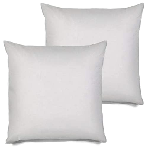 Set of 2 Pal Fabric 26x26 Premium 26x26 White Cotton Feel Microfiber Square Sham Euro Sofa Bed Couch Decorative Pillow Insert Form Fill Stuffer Cushion Made in USA