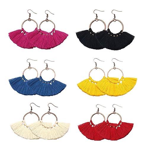 Handmade Bohemian Hanging Fringe Dangle Earrings for Women Girls COMMINY 6 Pairs Colorful Statement Tassel Earrings