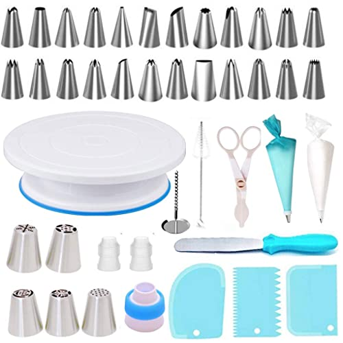 Kootek Cake Decorating Supplies 52-in-1 Baking Accessories Turntable Stands Cake