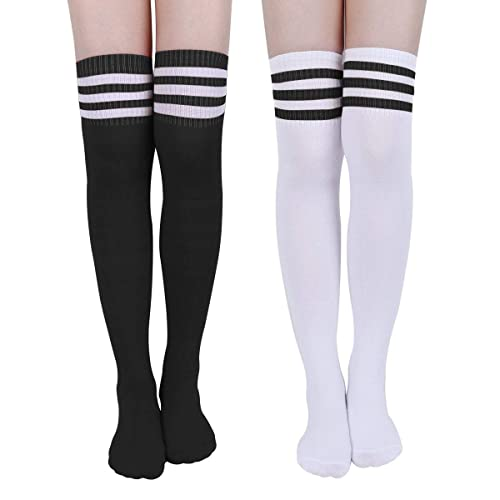 Faletony Womens Cotton Triple Stripe High Tights Over Knee Socks Thigh High Stockings