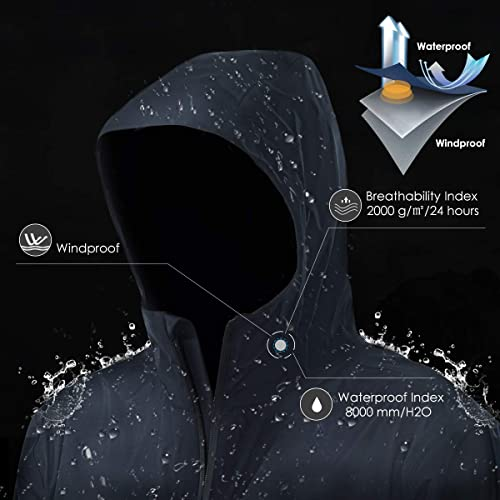 Lightweight Hooded Hiking Fishing Jacket Waterproof Windproof Breathable Mountain Jacket Windbreaker GYMAX Mens Rain Coat