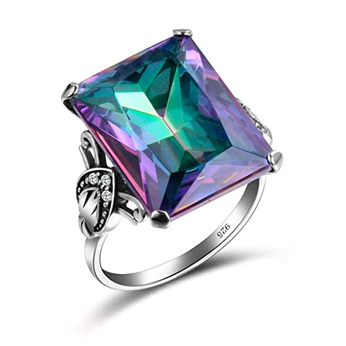 Szjinao Vintage Antique Design Big Square Mystic Fire Rainbow Topaz Stone Ring With 6pcs Small Cz Cubic Zirconia For Women Men Rings Buy Products Online With Ubuy Kuwait In Affordable Prices