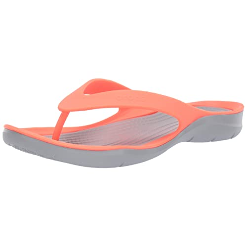 Crocs Women/'s Swiftwater Flip Matlite™️ Flip Flop Bright Coral Light Grey