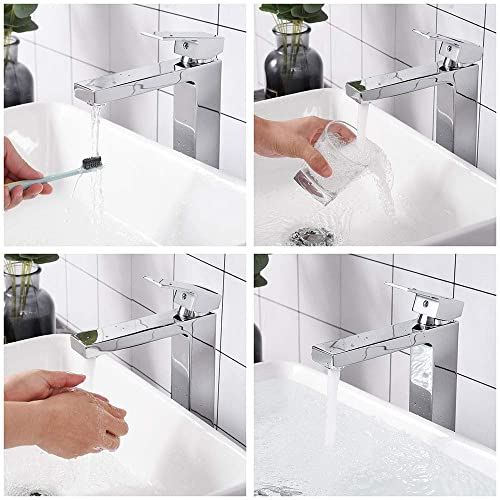 Buy Aquaterior Modern Chrome Single Hole Tall Vessel Sink Faucet For Bathroom One Handle Mixer Faucet Diy Cupc Online In Kuwait B07yfxjw21