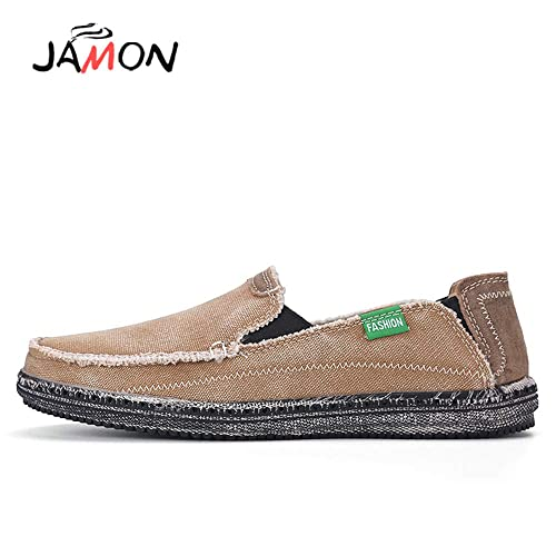 Mens Canvas Loafer Slip on Lace-Up Sneaker Deck Shoes Flat Driving Shoes Wear Resistant Work Vintage Boat Shoe