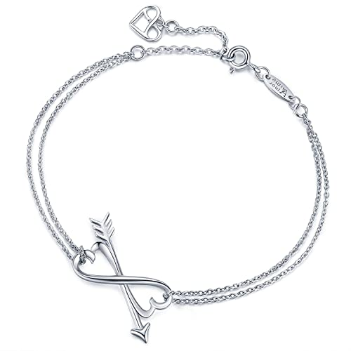 cde425b9090dd6 Buy AmorAime Infinity Bracelet Womens 925 Sterling Silver Bracelet Endless  Love Charm Adjustable Double Chains Girls Jewelry Gift for Birthday  Graduation ...