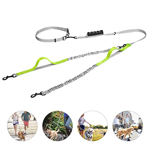 NOBLE DUCK Hands Free Dog Walking Belt Ajustable Dog Leash Waist Belt Pet Coupler Running and Jogging Lead Belt with Retractable Bungee for up 150lbs Dogs