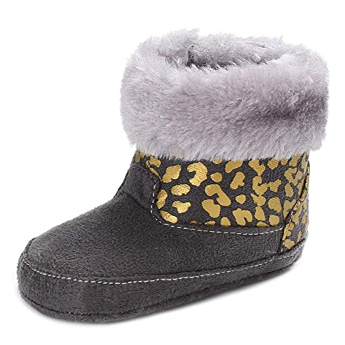 Bebila Baby Boys Girls Snow Boots Warm Winter Fur Lined Infant Crib Shoes with Soft Sole