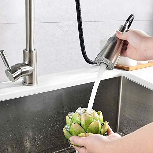 AmazeFan Single Handle High Arc Brushed Nickel Pull out Kitchen Faucet,Single Level Stainless Steel Kitchen Sink Faucets with Pull down Sprayer