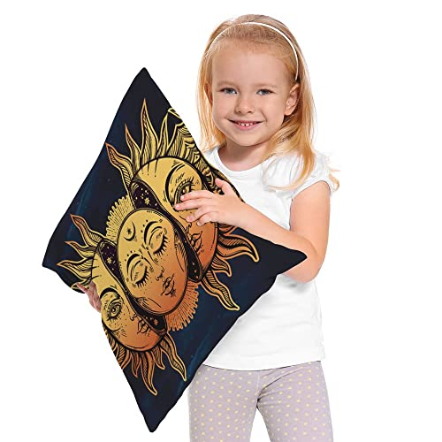 Moslion Sun Moon Pillow Cover Decorative Sun and Moon with Many Fractal Faces Celestial Energy Mystic Throw Pillow Case 18x18 Inch Cotton Linen Cushion Cover for Men Women Navy Blue Yellow