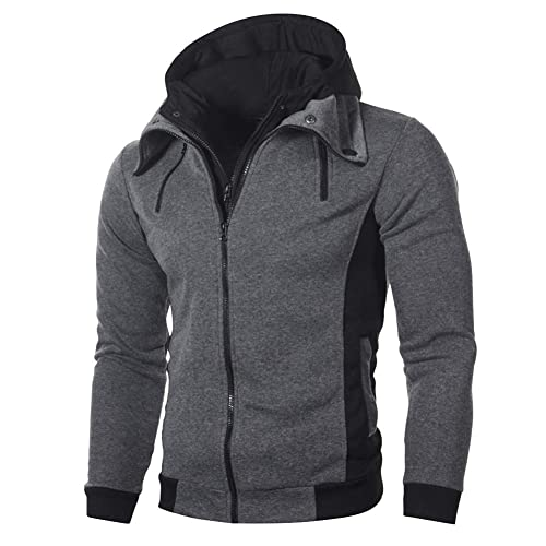 Mens Double Zip Up Hoodies Designer Hoody Winter High Collar Hooded Sweatshirts S-2XL
