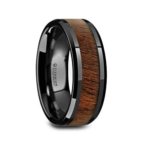 Thorsten Kendo Black Ceramic Polished Finish Ring Wedding Band with Black Walnut Wood Inlay 6mm from Roy Rose Jewelry