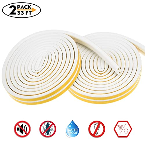 Weather Stripping for Door,Insulation Weatherproof Doors and Windows Soundproofing Seal Strip,Collision Avoidance Rubber Self-Adhesive Weatherstrip,66 x 1 T x 1//8 L W