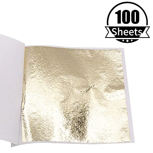 Imitation Gold Leaf Sheets Ceiling Wall Frame KINNO Antique Gold Foil Multipurpose for Home 100 Sheets 5.1 by 5.3 Inches Furniture Decoration