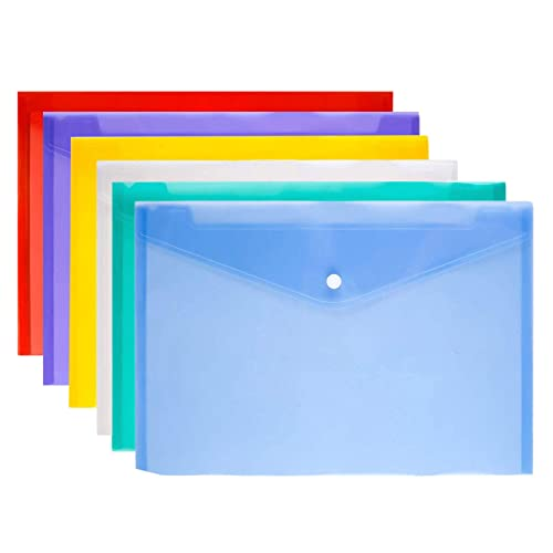 A+Selected 24PCS A5 Plastic Wallet with Popper Clear A5 Document Wallet Storage Folder Multi-Colored
