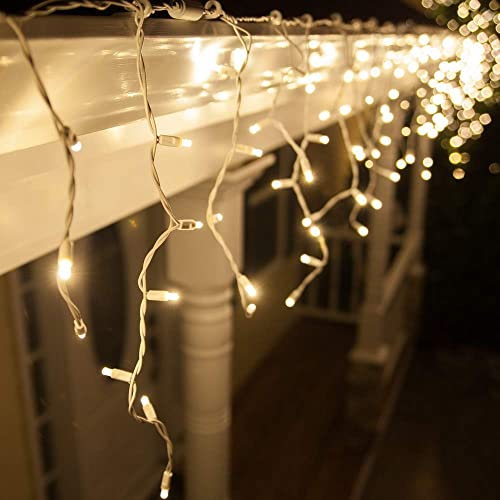 Buy 70 5mm Warm White Led Icicle Lights 7 5 On White Wire