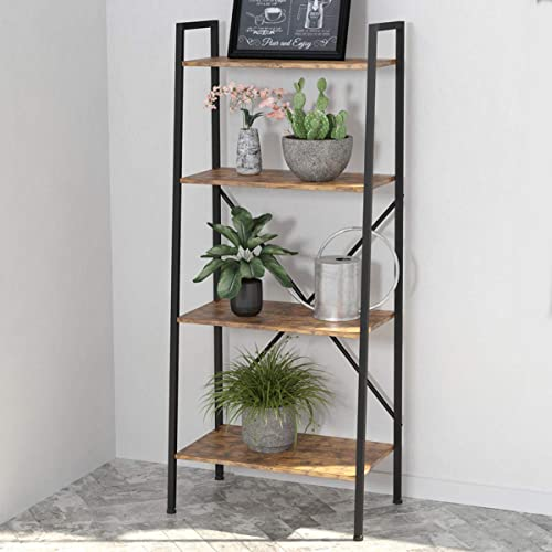 Wood 5-Tier Bookshelf Ladder Shelf Storage Shelf Living Room Furniture Brown US