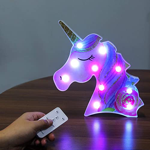 Unicorn Lights Shaped Night Light Remote Control Table Lamp Battery Operated Marquee Led Nightstand Lamps Home Decoration For Girls Bedroom Accessories Decorations Flower Unicorn Buy Products Online With Ubuy Kuwait In Affordable