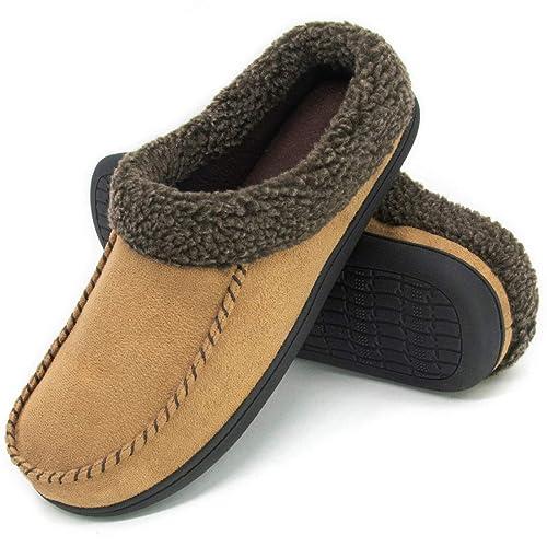 70409734d4 ULTRAIDEAS Men's Cozy Memory Foam Moccasin Suede Slippers with Fuzzy Plush  Wool-Like Lining,